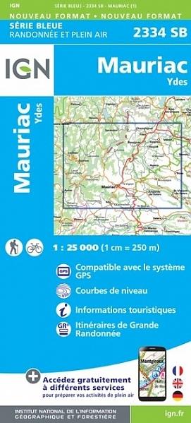 SB-2334SB Mauriac, Ydes | wandelkaart 1:25.000 9782758546245  IGN IGN 25 Auvergne  Wandelkaarten Auvergne