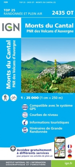 2435OT  Monts du Cantal | wandelkaart 1:25.000 9782758546474  IGN IGN 25 Auvergne  Wandelkaarten Auvergne