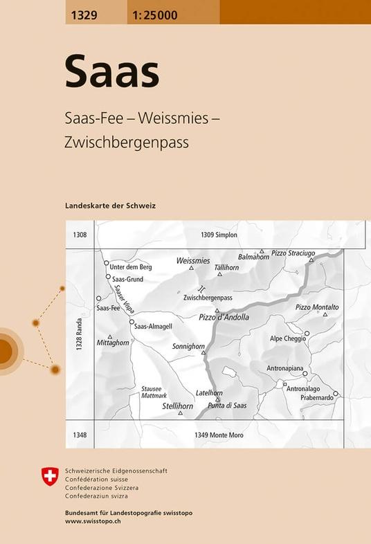 CH-1329 Saas  [2017] topografische wandelkaart 9783302013299  Bundesamt / Swisstopo LKS 1:25.000  Wandelkaarten Wallis