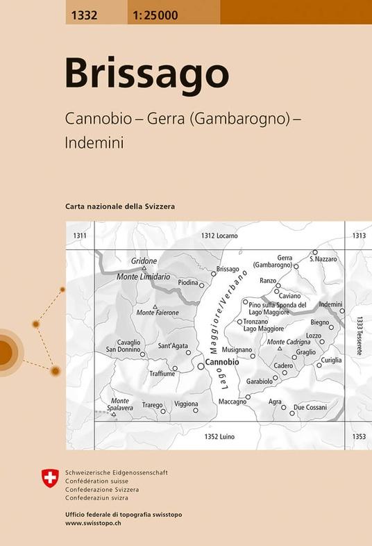 CH-1332  Brissago  [2017] topografische wandelkaart 9783302013329  Bundesamt / Swisstopo LKS 1:25.000 Tessin  Wandelkaarten Milaan, Lombardije, Italiaanse Meren, Tessin, Ticino
