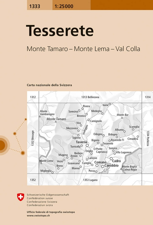 CH-1333  Tesserete  [2017] topografische wandelkaart 9783302013336  Bundesamt / Swisstopo LKS 1:25.000 Tessin  Wandelkaarten Tessin, Ticino