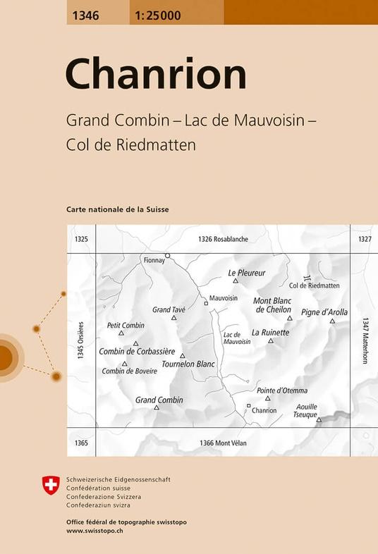 CH-1346  Chanrion [2018] topografische wandelkaart 9783302013466  Bundesamt / Swisstopo LKS 1:25.000 Wallis  Wandelkaarten Wallis