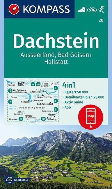KP-20 Dachstein-Südl. Salzkammergut | Kompass wandelkaart 9783990444153  Kompass Wandelkaarten Kompass Oostenrijk  Wandelkaarten Salzburg, Karinthië, Tauern, Stiermarken