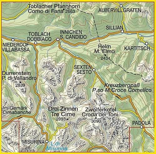 TAB-010  Dolomiti di Sesto/ Sextener Dolomiten   Tabacco wandelkaart 9788883150104  Tabacco Tabacco 1:25.000  Wandelkaarten Zuid-Tirol, Dolomieten