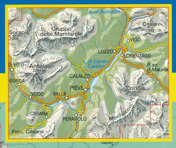 TAB-016 Dolomiti del Centro Cadore | Tabacco wandelkaart 9788883150166  Tabacco Tabacco 1:25.000  Wandelkaarten Zuid-Tirol, Dolomieten