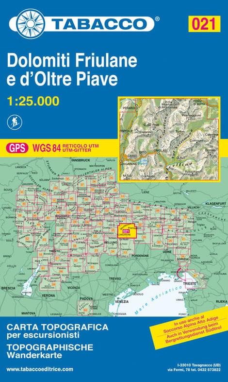 TAB-021  Dolomiti di Sinistra Piave | Tabacco wandelkaart 9788883150210  Tabacco Tabacco 1:25.000  Wandelkaarten Venetië, Veneto, Friuli