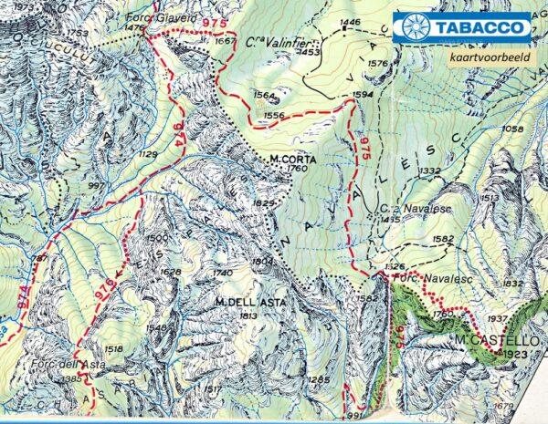 TAB-022  Pale di San Martino | Tabacco wandelkaart 9788883150227  Tabacco Tabacco 1:25.000  Wandelkaarten Zuid-Tirol, Dolomieten