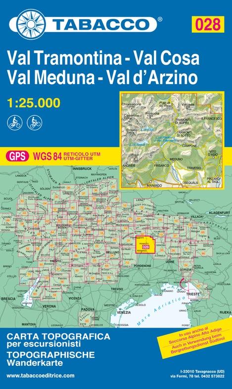 TAB-028  Val Tramontina/ Val Cosa/ Val d Arzino | Tabacco wandelkaart 9788883151200  Tabacco Tabacco 1:25.000  Wandelkaarten Venetië, Veneto, Friuli