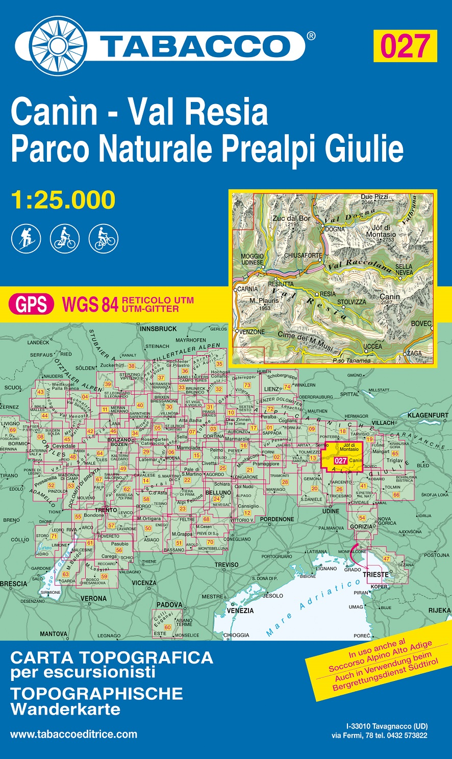 TAB-027  Canin - Valli di Resia e Raccolana | Tabacco wandelkaart 9788883151293  Tabacco Tabacco 1:25.000  Wandelkaarten Venetië, Veneto, Friuli