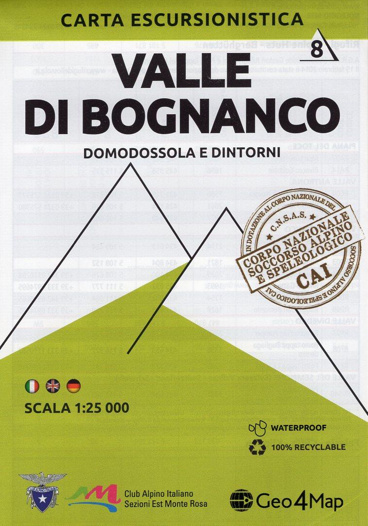 G4M-08 Valle di Bognanco | wandelkaart 1:25.000 9788899606060  Geo4Map   Wandelkaarten Turijn, Piemonte