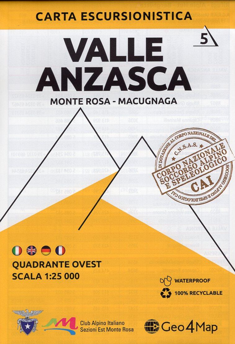 G4M-05 Valle Anzasca  | wandelkaart 1:25.000 9788899606084  Geo4Map   Wandelkaarten Turijn, Piemonte