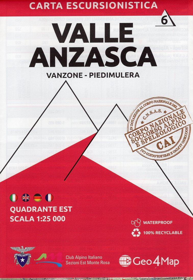 G4M-06 Valle Anzasca (oost) | wandelkaart 1:25.000 9788899606091  Geo4Map   Wandelkaarten Turijn, Piemonte