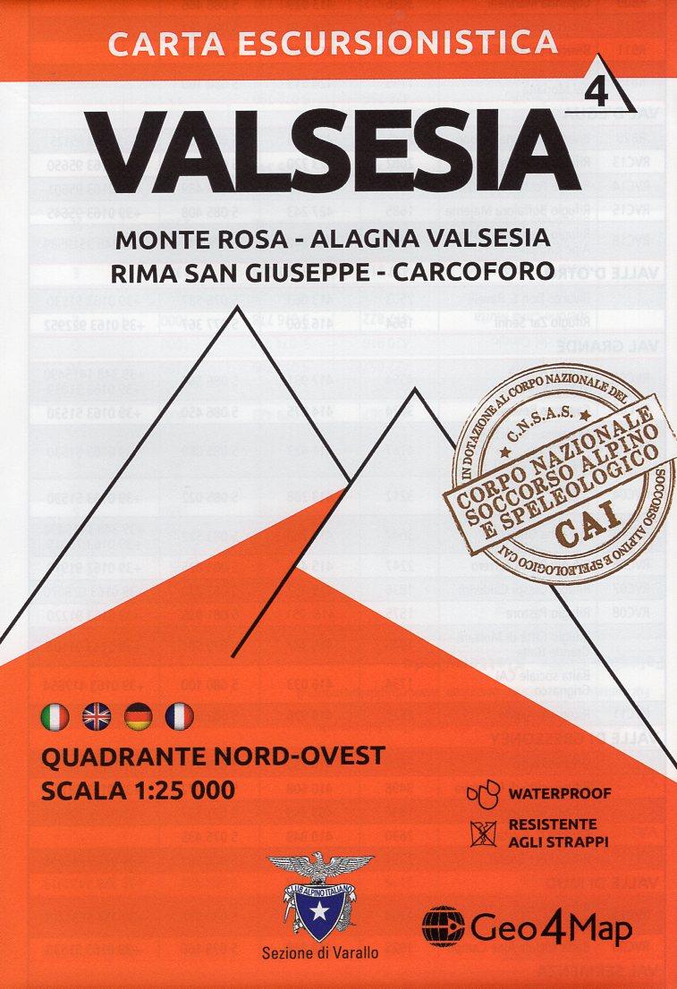G4M-04 Valsesia (noord-west) | wandelkaart 1:25.000 9788899606107  Geo4Map   Wandelkaarten Turijn, Piemonte