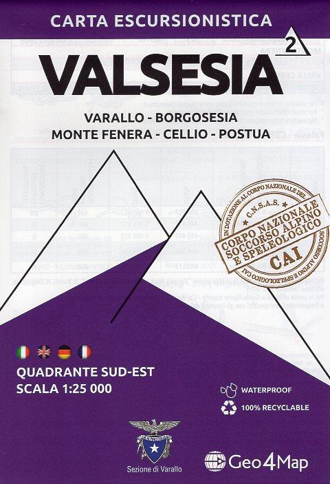 G4M-02 Valsesia (zuid-oost) | wandelkaart 1:25.000 9788899606329  Geo4Map   Wandelkaarten Turijn, Piemonte