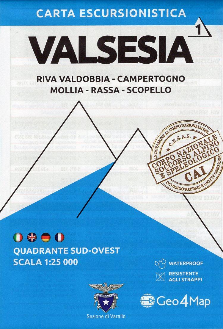 G4M-01 Valsesia (zuid-west) | wandelkaart 1:25.000 9788899606367  Geo4Map   Wandelkaarten Turijn, Piemonte