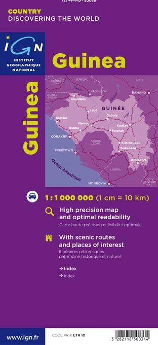 Guinée 1:1.000.000 3282118500314  IGN   Landkaarten en wegenkaarten West-Afrikaanse kustlanden (van Senegal tot en met Nigeria)