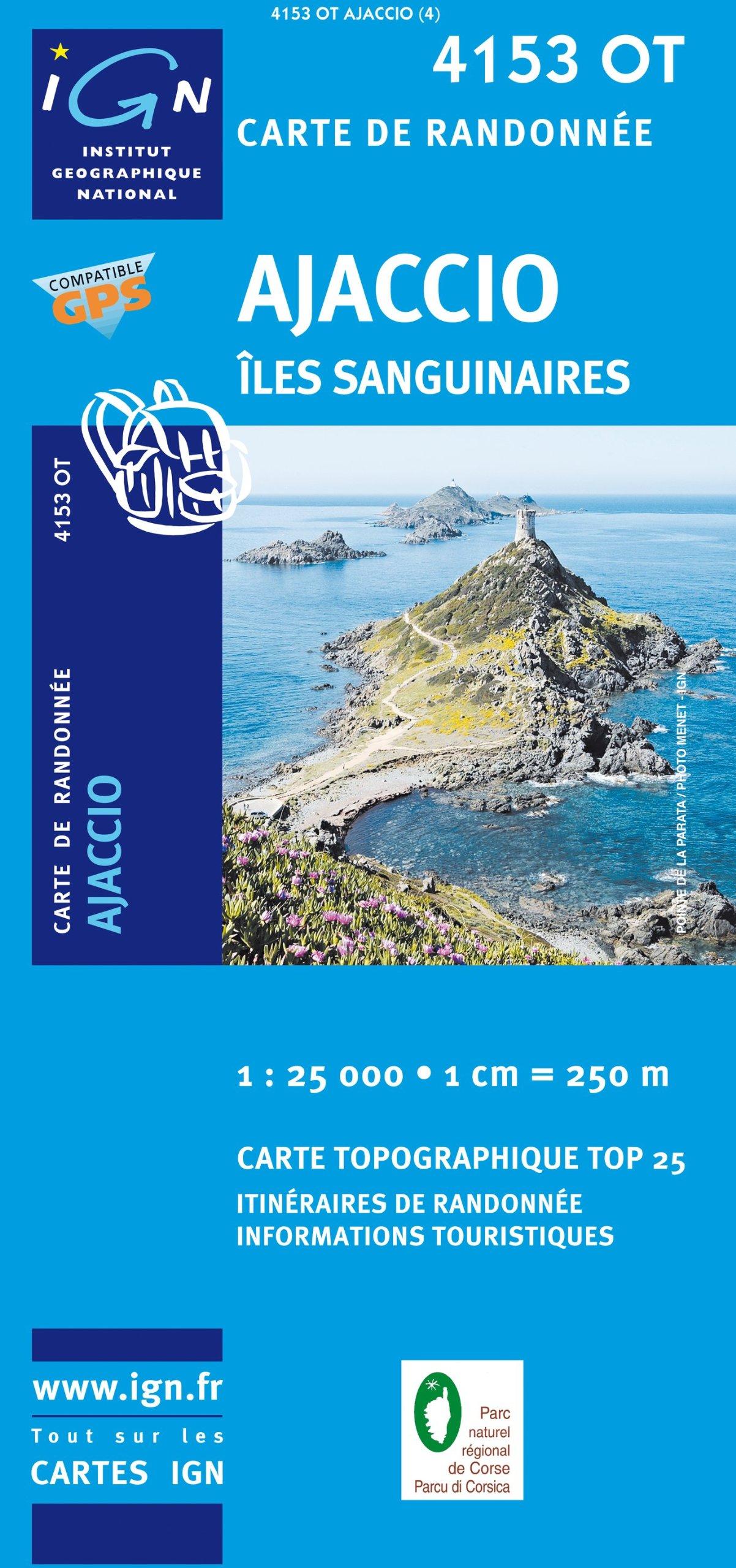 4153OT  Ajaccio, Environs | wandelkaart 1:25.000 4153OT  IGN IGN 25 Corsica  Wandelkaarten Corsica