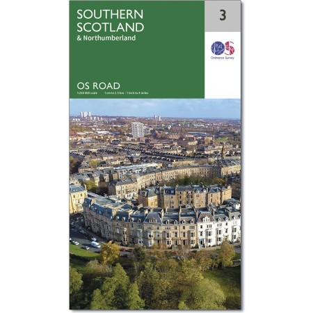RM-3  Southern Scotland, wegenkaart Zuid-Schotland 9780319263754  Ordnance Survey Road Map 1:250.000  Landkaarten en wegenkaarten de Schotse Hooglanden (ten noorden van Glasgow / Edinburgh), Zuid-Schotland