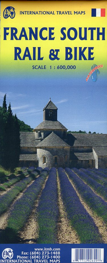 Zuid-Frankrijk 1:600.000  kaart met spoorwegen en fietspaden 9781771292849  ITM   Fietskaarten, Landkaarten en wegenkaarten Frankrijk