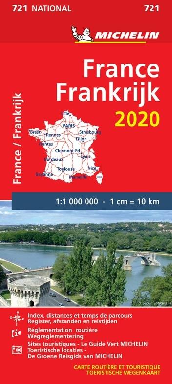 721 Frankrijk 1:1.000.000  2020 9782067242722  Michelin Michelinkaarten Jaaredities  Landkaarten en wegenkaarten Frankrijk