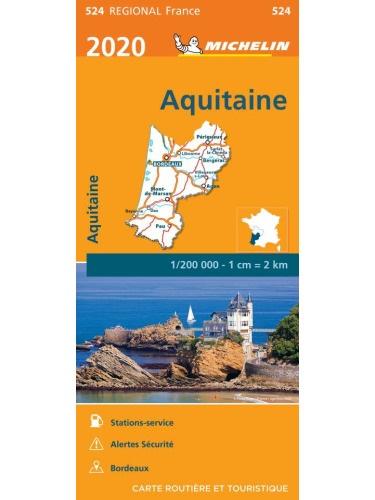 524 Aquitaine | Michelin  wegenkaart, autokaart 1:200.000 2020 9782067243873  Michelin Regionale kaarten  Landkaarten en wegenkaarten Aquitaine, Bordeaux