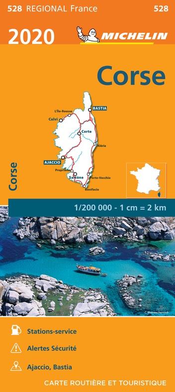 528  Corse | Michelin  wegenkaart, autokaart 1:200.000 9782067243927  Michelin Regionale kaarten  Landkaarten en wegenkaarten Corsica