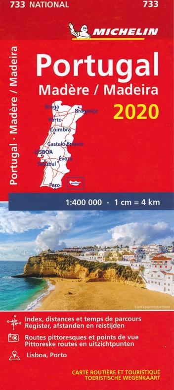 733 Portugal 2020 | Michelin  wegenkaart, autokaart 1:400.000 9782067243941  Michelin Michelinkaarten Jaaredities  Landkaarten en wegenkaarten Portugal