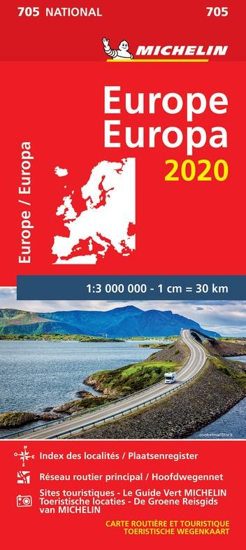 705 Europa 1:3.000.000 - 2020 9782067243996  Michelin Michelinkaarten Jaaredities  Landkaarten en wegenkaarten Europa
