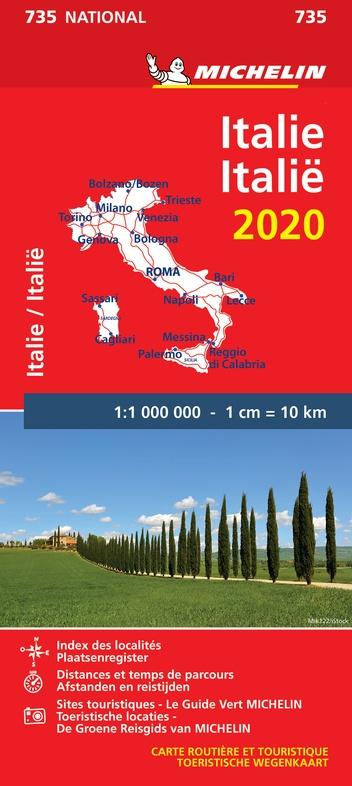 735 Italie, 1:1.000.000  2020 9782067244115  Michelin Michelinkaarten Jaaredities  Landkaarten en wegenkaarten Italië
