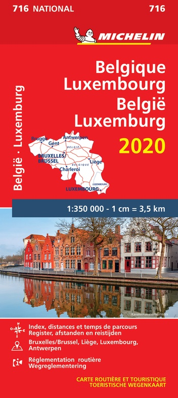 716 Belgie/Luxemb. 1:350.000, met register 2020 9782067244207  Michelin Michelinkaarten Jaaredities  Landkaarten en wegenkaarten België & Luxemburg