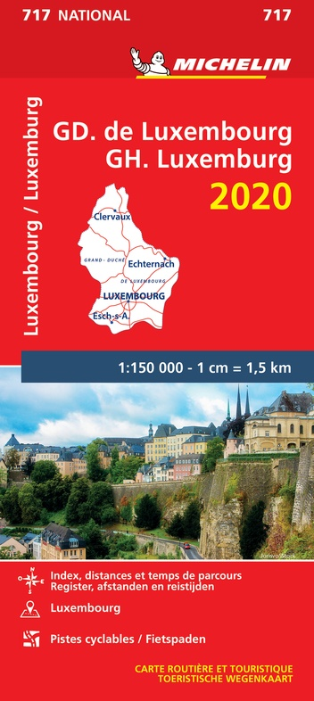 717 Luxemburg, Groothertogdom 1:150.000, 2020 9782067244221  Michelin Michelinkaarten Jaaredities  Landkaarten en wegenkaarten Luxemburg