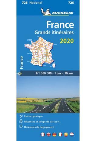 726 Grands Itinéraires France 1:1.000.000 2020 9782067244269  Michelin Michelinkaarten Jaaredities  Landkaarten en wegenkaarten Frankrijk