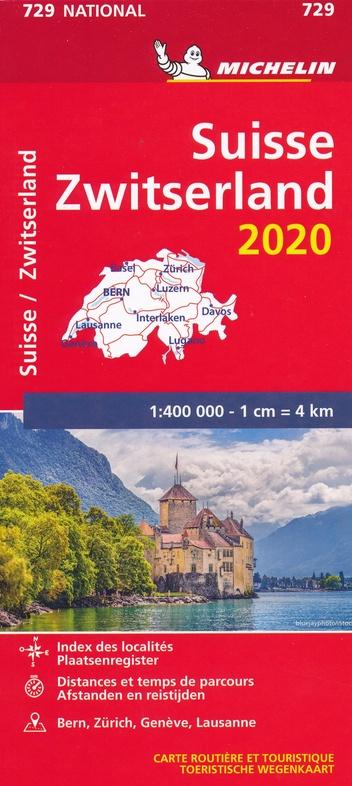 729 Zwitserland 2020 | Michelin  wegenkaart, autokaart 1:400.000 9782067244290  Michelin Michelinkaarten Jaaredities  Landkaarten en wegenkaarten Zwitserland