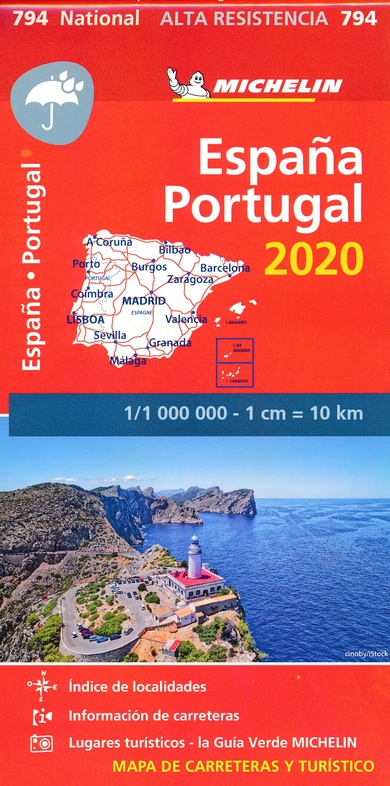 794  Spanje en Portugal 1:1.000.000 (onverscheurbaar) 2020 9782067244320  Michelin Michelinkaarten Jaaredities  Landkaarten en wegenkaarten Spanje