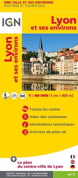 Lyon en omgeving 1:80.000 9782758534921  IGN   Landkaarten en wegenkaarten, Stadsplattegronden Lyon en omgeving