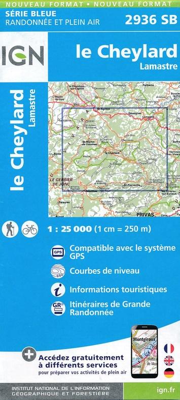SB-2936SB Le Cheylard, Lamastre | wandelkaart 1:25.000 9782758539100  IGN IGN 25 Ardèche / Drôme  Wandelkaarten Ardèche, Drôme