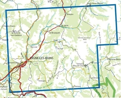 3440ET Digne-les-Bains, La Javie   wandelkaart 1:25.000 9782758543299  IGN IGN 25 Franse Alpen/ zuidhelft  Wandelkaarten Franse Alpen: zuid