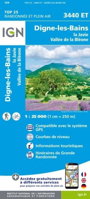 3440ET Digne-les-Bains, La Javie | wandelkaart 1:25.000 9782758543299  IGN IGN 25 Franse Alpen/ zuidhelft  Wandelkaarten Franse Alpen: zuid