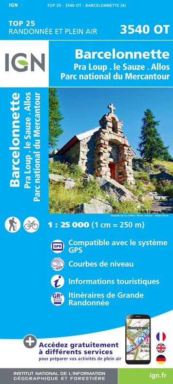 3540OT  omgeving Barcelonnette | wandelkaart 1:25.000 9782758543305  IGN IGN 25 Franse Alpen/ zuidhelft  Wandelkaarten Franse Alpen: zuid