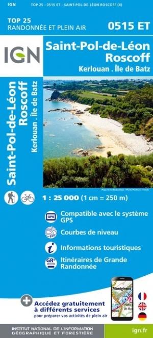 0515ET  St.Pol-de-Léon, Roscoff | wandelkaart 1:25.000 9782758545125  IGN IGN 25 Bretagne  Wandelkaarten Bretagne