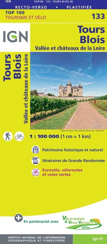SV-133  Tours, Blois | omgevingskaart / fietskaart 1:100.000 9782758547563  IGN Série Verte 1:100.000  Fietskaarten, Landkaarten en wegenkaarten Loire & Centre