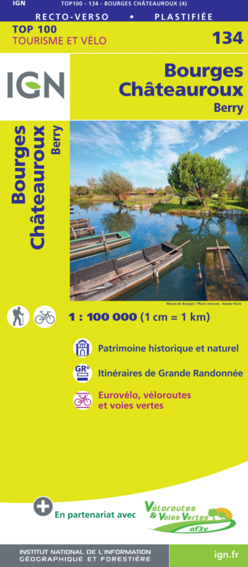 SV-134  Bourges, Châteauroux | omgevingskaart / fietskaart 1:100.000 9782758547570  IGN Série Verte 1:100.000  Fietskaarten, Landkaarten en wegenkaarten Loire & Centre