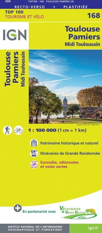 SV-168  Toulouse, Pamiers | omgevingskaart / fietskaart 1:100.000 9782758547761  IGN Série Verte 1:100.000  Fietskaarten, Landkaarten en wegenkaarten Lot, Tarn, Toulouse