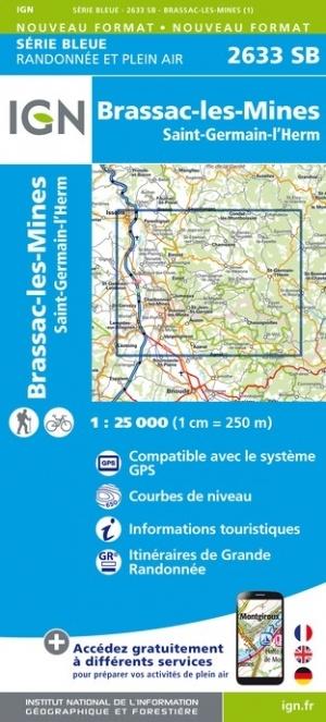 SB-2633SB  Brassac-les-Mines, St-Germain-l'Herm  | wandelkaart 1:25.000 9782758548751  IGN IGN 25 Auvergne  Wandelkaarten Auvergne