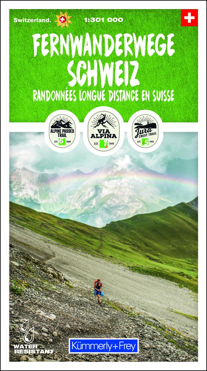 Fernwanderwege Schweiz | kaart met de LAW's van Zwitserland 9783259003619  Kümmerly & Frey   Wandelkaarten Zwitserland