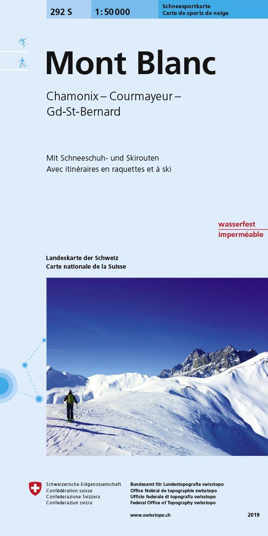 S292 Mont Blanc / Chamonix / Courmayeur / Grand-St-Bernard 9783302202921  Bundesamt / Swisstopo Skirouten 1:50.000  Wintersport Wallis