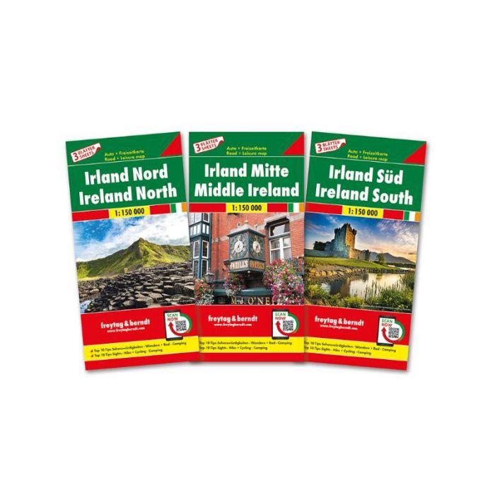 Ierland (set van 3 kaarten) | autokaart, wegenkaart 1:150.000 9783707918007  Freytag & Berndt   Fietskaarten, Landkaarten en wegenkaarten Ierland
