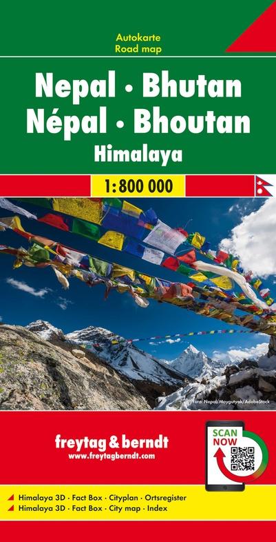 Nepal, Bhutan | autokaart, wegenkaart 1:800.000 9783707918410  Freytag & Berndt   Landkaarten en wegenkaarten Nepal