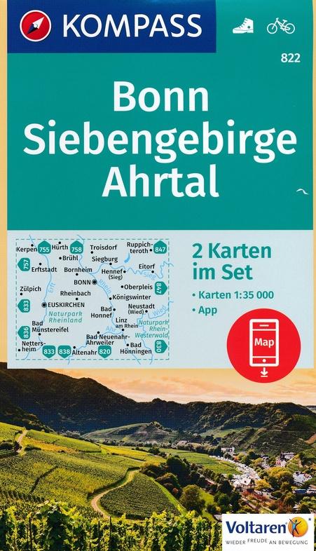 KP-822  Bonn, Siebengebirge, Ahrtal | set van 2 wandelkaarten 9783990442425  Kompass Wandelkaarten Kompass Duitsland  Wandelkaarten Aken, Keulen en Bonn, Heidelberg, Kraichgau, Stuttgart, Neckar
