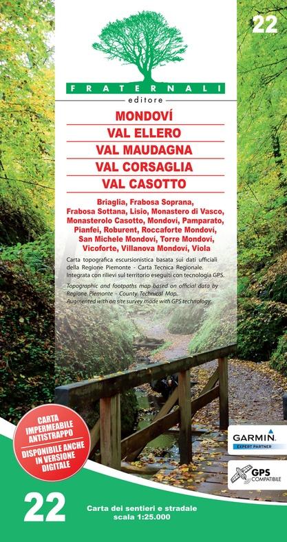 FRA-22 Mondovì - Valle Ellero - Val Maudagna - Val Corsaglia | wandelkaart 1:25.000 9788897465287  Fraternali Editore   Wandelkaarten Turijn, Piemonte